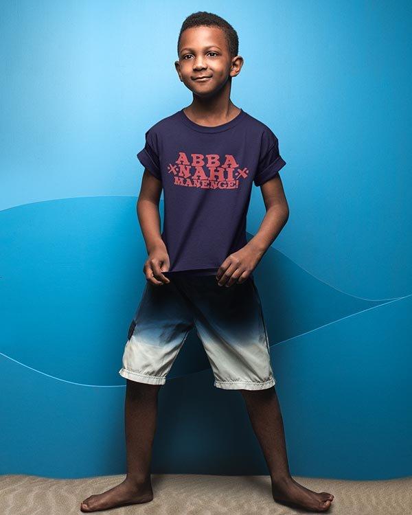Abba Nahi Manengel Cotton Tshirt for Children Dark Blue