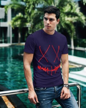 Deadly Smile Mask Navy Blue Pure Cotton Tshirt for Men