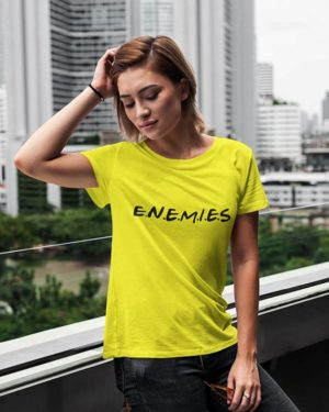 Enemies Yellow Cotton Tshirt for Women