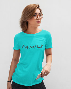 Family Sky Blue Cotton Tshirt for Women