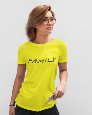 Family Yellow Cotton Tshirt for Women