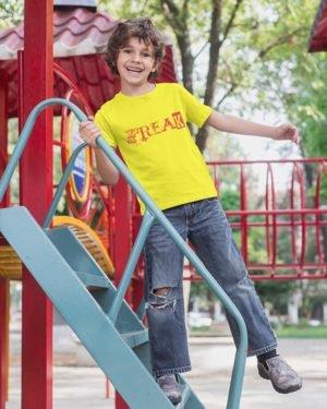 Freak Text Pure Cotton Tshirt for Children Yellow