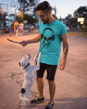 Funny Skull with Musical headphone Sky Blue Pure Cotton Tshirt for Men