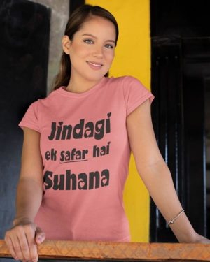 Jindagi Ek Safar Hai Suhana Pink Pure Cotton Tshirt for Women