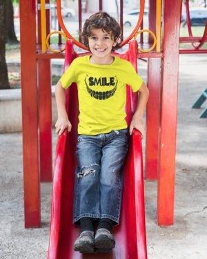 Joker Smile Pure Cotton Tshirt for Children Yellow