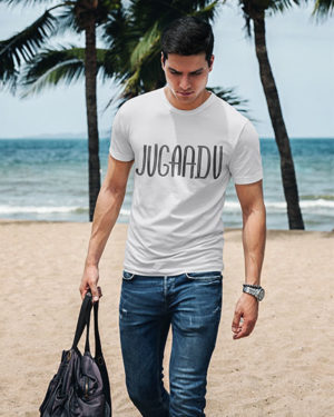 Jugaadu White Pure Cotton Tshirt for Men
