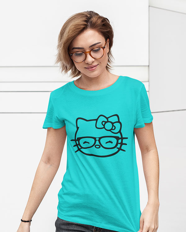 Little Cat (Kitty) Sky Blue Cotton Tshirt for Women
