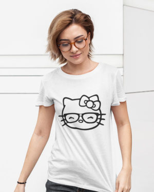 Little Cat (Kitty) White Cotton Tshirt for Women