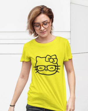 Little Cat (Kitty) Yellow Cotton Tshirt for Women