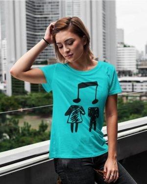 Music Couple Sky Blue Pure Cotton Tshirt for Women