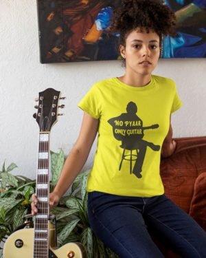 No Pyar Only Guitar Yellow Pure Cotton Tshirt for Women