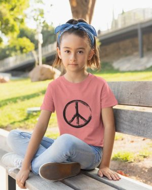 Peace Pure Cotton Tshirt for Children Pink