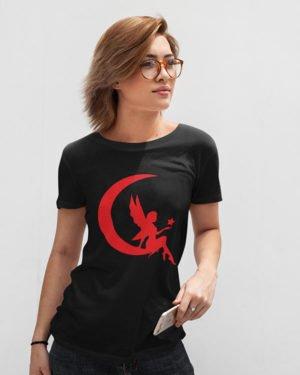Princess of Moon Black Pure Cotton Tshirt for Women