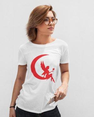 Princess of Moon White Pure Cotton Tshirt for Women