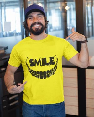 Scary Smile Yellow Pure Cotton Tshirt for Men