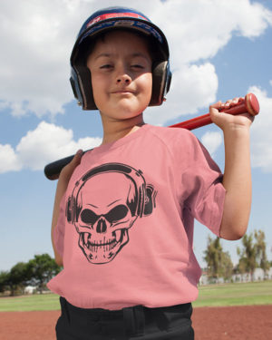 Skull With Headphone Cotton Tshirt for Children Pink