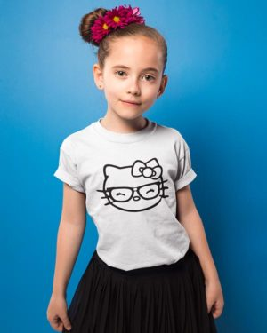 Smiling Kitty Pure Cotton Tshirt for Children White