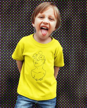 Space in Mind Pure Cotton Tshirt for Children Yellow