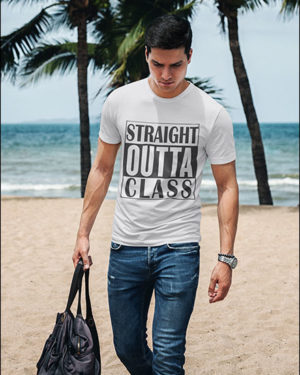 Straight Outta Class White Pure Cotton Tshirt for Men