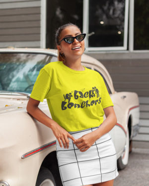 Back Benchers Animated Pure Cotton Tshirt for Women Yellow