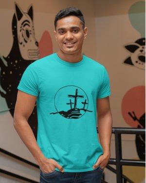 Christian Symbol Pure Cotton Tshirt for Men Sky Blue