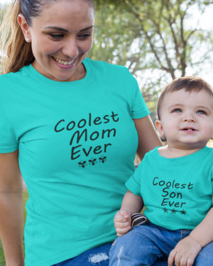 Coolest Mom Son Ever Pure Cotton Tshirt For Family Sky Blue