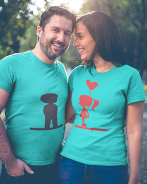 Couple With Heart Baloon Pure Cotton Tshirt for Couples Sky Blue