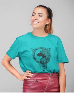 Designer Animated Dog Pure Cotton Tshirt for Women Sky Blue