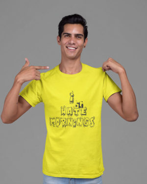 I Hate Mornings Panda Boys Animated Pure Cotton Tshirt for Men Yellow
