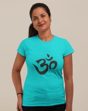 Om Hindu Symbol Pure Cotton Tshirt for Women Sky Blue
