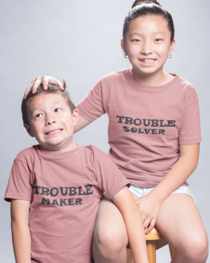 Trouble Maker Trouble Solver Pure Cotton Tshirt for Siblings Pink