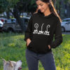 3 Cats Funky Pure Cotton Hoodie for Women Black