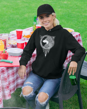 Dog Animated Pure Cotton Hoodie for Women Black