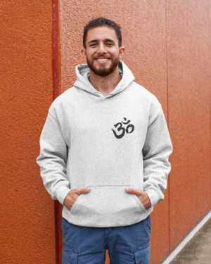 Om Pure Cotton Hoodie for Religious Men White