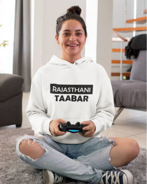 Rajasthani Taabar Pure Cotton Hoodie for Regional Women White