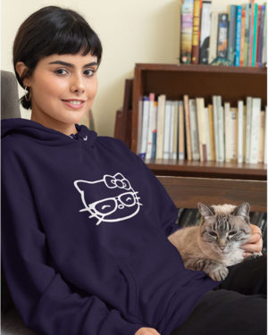Smiling Kitten Funky Pure Cotton Hoodie for Women Dark Blue