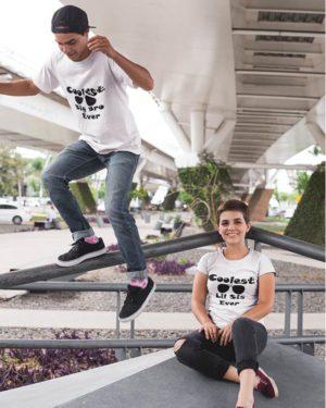 Coolest Lil Sis And Coolest Big Bro Pure Cotton Tshirts For Brother Sister White