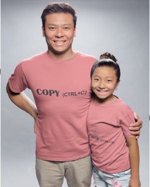 Copy Paste Pure Cotton Tshirt For Father Daughter Pink
