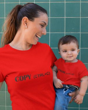 Copy Paste Pure Cotton Tshirt For Mom Son Red