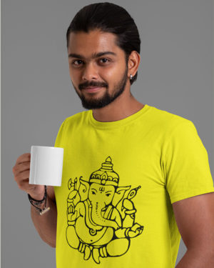 Ganesha Animated Pure Cotton Tshirt for Men Yellow
