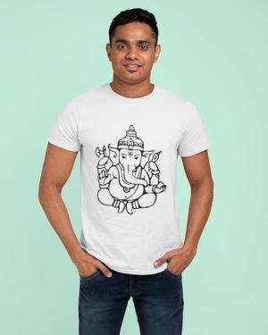 Ganesha Sketch Animated Pure Cotton Religious Tshirt For Men WHite