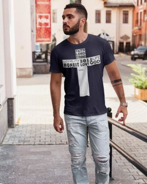 Jesus Symbol with Good Characters Pure Cotton Religious Tshirt For Men Navy Blue