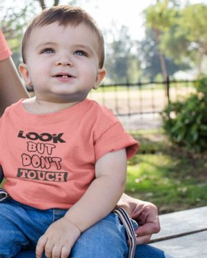 Look Bot Don't Touch Pure Cotton Tshirt For Toddlers Pink