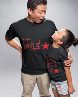 Me Mini Me Pure Cotton Tshirts For Father Daughter Black