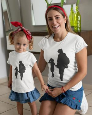 Mother Holding Daughter's Hand Pure Cotton Tshirt For Mom Daughter White