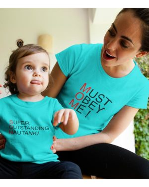 Must Obey Me (MOM) Super Outstanding Nautanki (SON) Pure Cotton Tshirts For Mom Son Blue