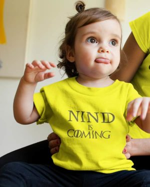 Nind is Coming Pure Cotton Tshirt For Toddlers Yellow