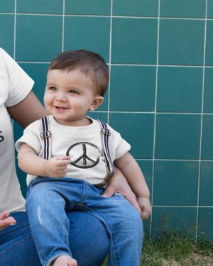 Peace Symbol Pure Cotton Tshirt For Toddlers White