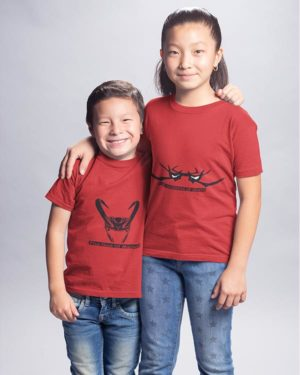 The God Of Mischief And The Goddess Of Death Pure Cotton Tshirts For Brother Sister Red