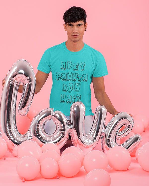 Abey Padhta Kon Hai Pure Cotton Tshirt for Men Sky Blue